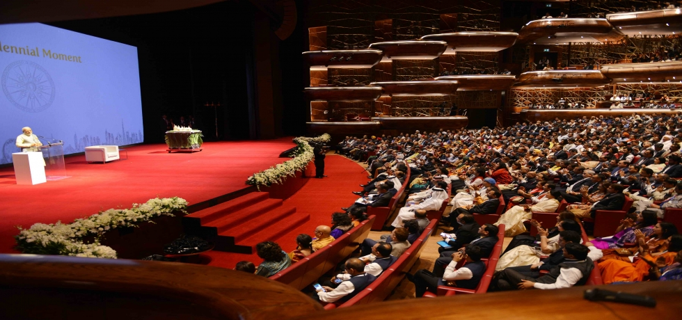 Prime Minister Shri Narendra Modi addressing the Indian diaspora at the community reception held at Dubai Opera on 11th   February 2018