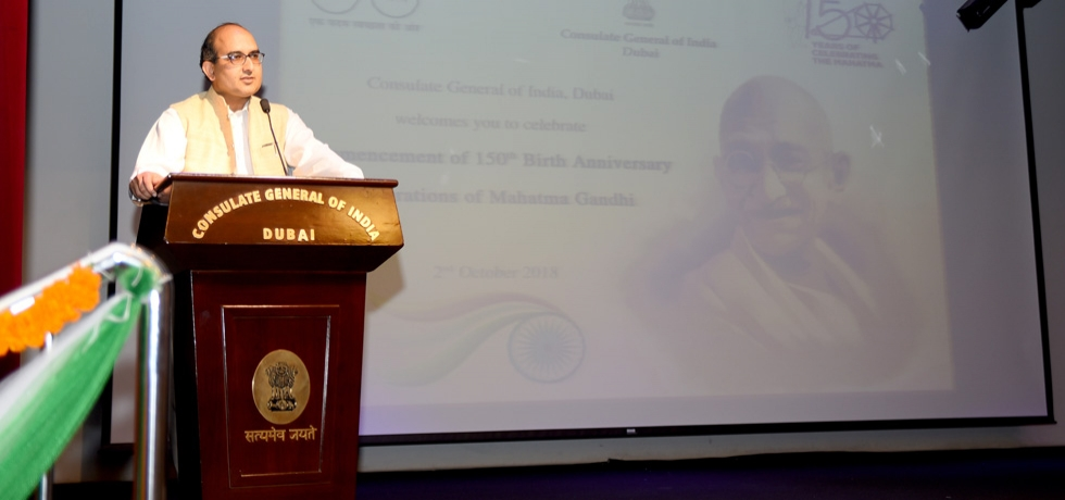 Consul General, Sh. Vipul, addressed the Indian community members on  the occasion of Commencement of 150th Birth Anniversary celebrations of  Mahatma Gandhi on 2nd October 2018 at the Consulate