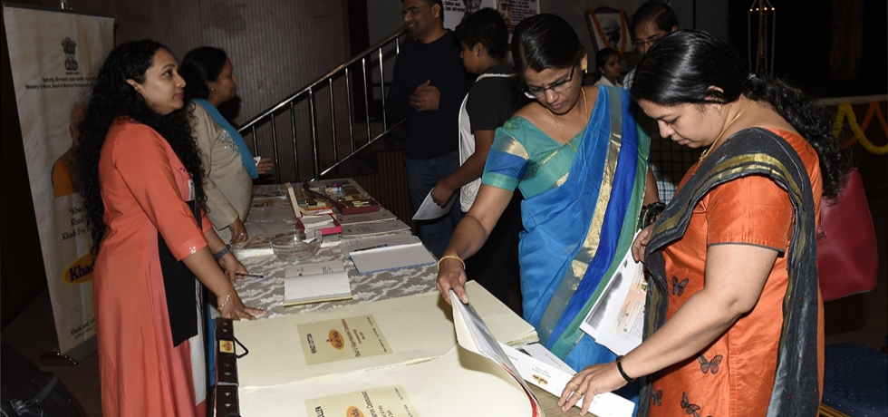 Display of Khadi products during the two day Gandhiji, Khadi and Gita Intelligence poster exhibition at the Consulate on 4 - 5 January 2019