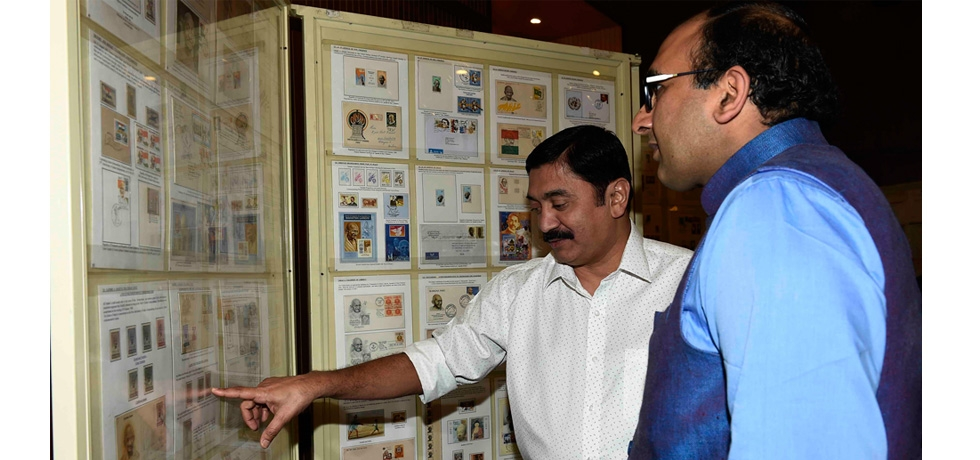 Display of rare postal stamps related to Gandhiji during the two day Gandhiji, Khadi and Gita Intelligence poster exhibition at the Consulate