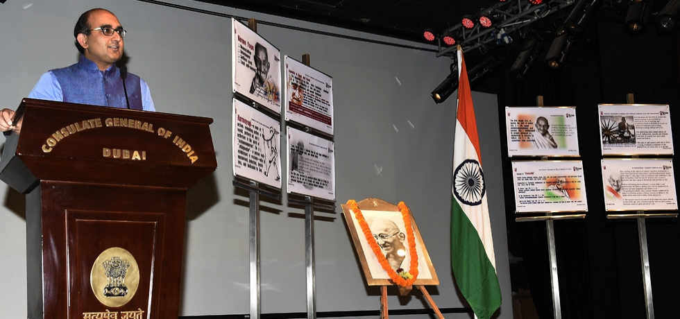 Consul General Sh. Vipul addresses the community members during the inauguration of the two day Gandhiji, Khadi and Gita Intelligence Poster Exhibition at the Consulate