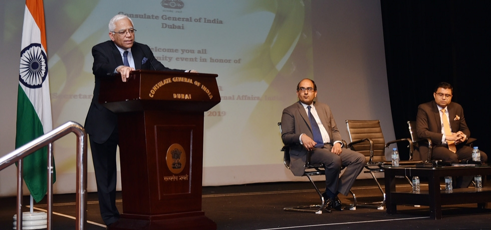 Sh. Sanjiv Arora, Secretary (CPV & OIA) addressed the Indian community members during a community event at the Consulate on 1st May 2019 and briefed on various GOI steps for welfare of Indians abroad