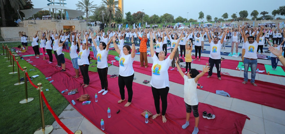 Yoga enthusiasts at the 5th International Day of Yoga 2019 celebrations at Zabeel Park, Dubai.