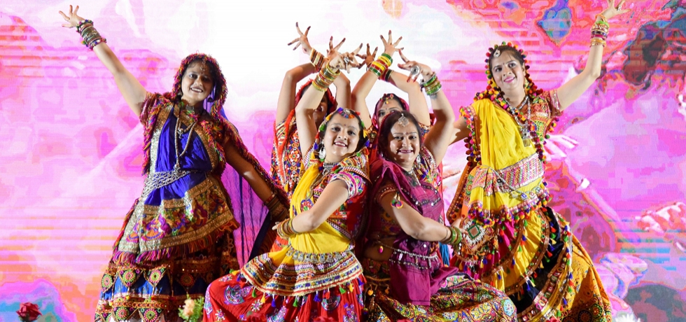 Colorful cultural performance at