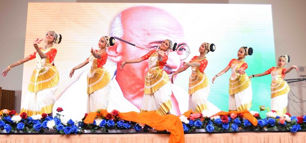 "Traditional Mohiniyattam dance style on ""Raghupati Raghava Raja Ram"" as a tribute to 150 years of Mahatma Gandhi performed at the event"
