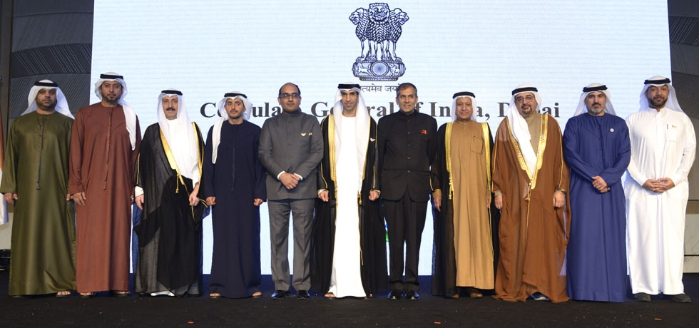 H.E.Dr.Thani Bin Ahmed Al Zeyoudi, Hon'ble Minister of Climate Change and Environment, Govt. of UAE, Ambassador of India to UAE, Sh. Pavan Kapoor and Consul General Sh. Vipul along with other dignitaries at the Republic Day Reception hosted by Consulate General of India, Dubai on 29 January, 2020