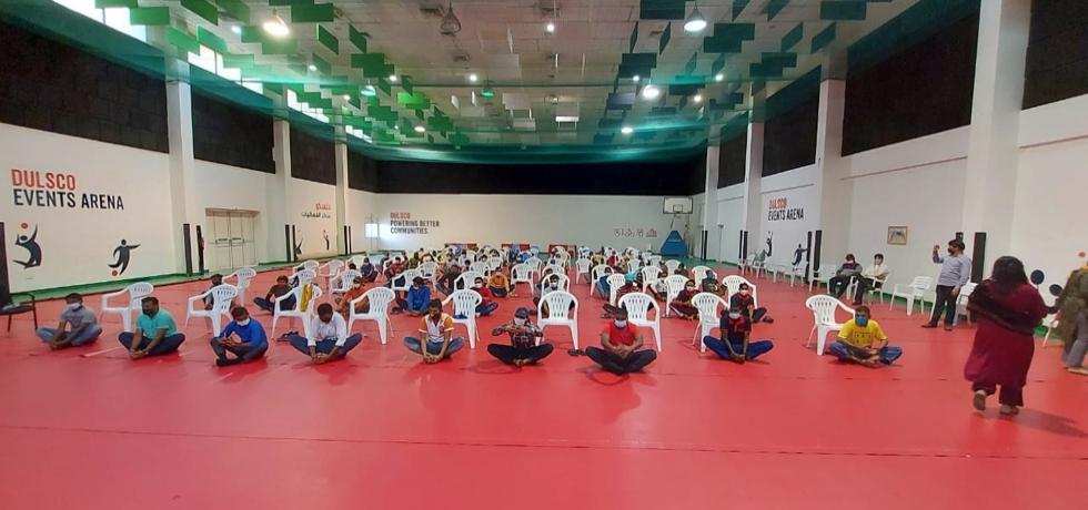 Pravasi Bharatiya Sahayata Kendra, Dubai organized a health awareness drive for workers.May 28, 2021.