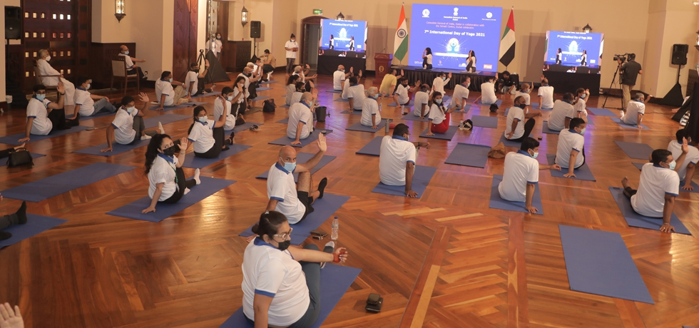 Consulate General of India celebrated the 7th International Day of Yoga 2021 at Ismaili Centre, Dubai. June 19, 2021