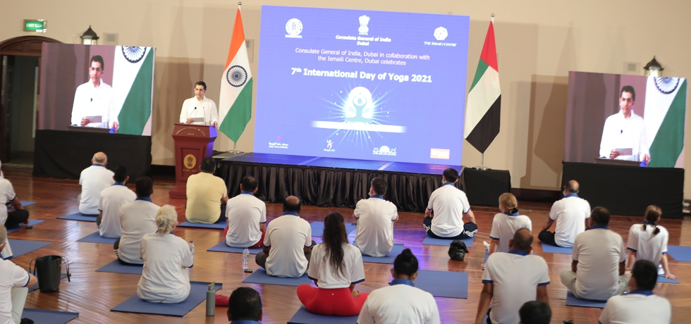 CGDr. Aman Puri delivered welcome address during the celebration of the 7th International Day of Yoga 2021 at Ismaili Centre, Dubai. June 19, 2021