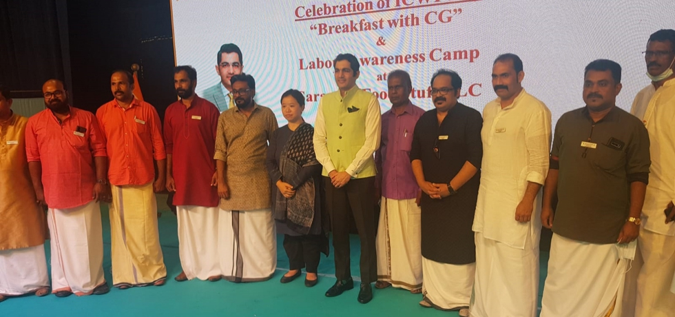 Consul General Dr. Aman Puri visited Indian Association, Umm Al Qwain to celebrate ICWF Day with the workers of Saravana Food Stuff Factory as a part of Azadi Ka Amrit Mahotsav Celebrations and fifth edition of