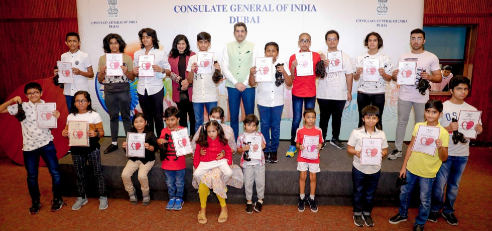 Consul General Dr. Aman Puri felicitated young boys who joined in the hair donation drive for cancer patients at the Indian Consulate. September 21, 2021