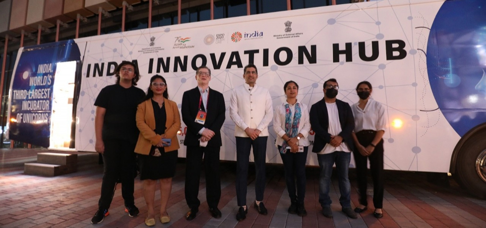 Consul General Dr. Aman Puri inaugurated innovation bus at the India Pavilion at Expo 2020 Dubai. October 4, 2021